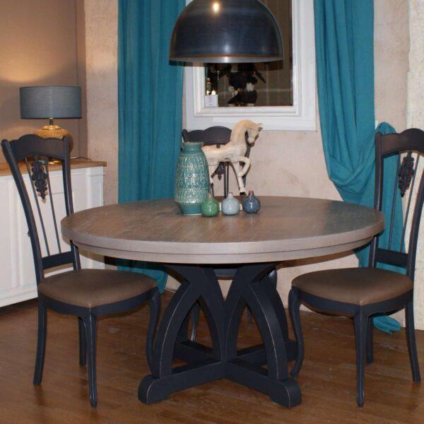 Table repas pied central plateau chêne ---------- T213 fixe