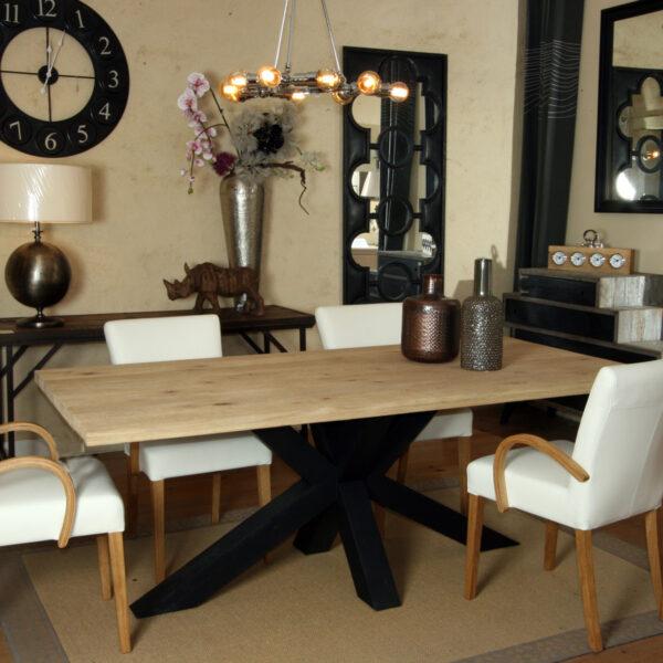 Table repas plateau chêne / piétement double X