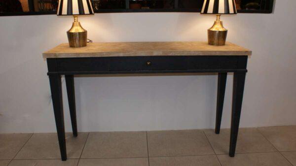 Console 1 tiroir avec plateau assemblage de chêne motifs chevron réf T211 130x40